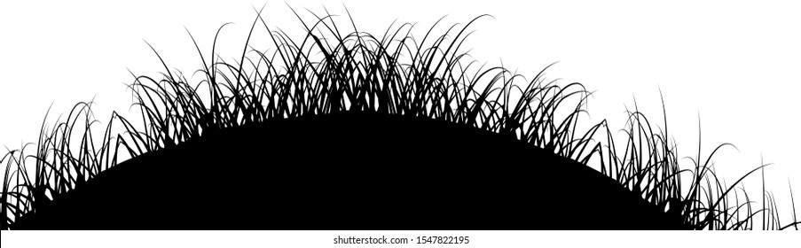 Black Grass Silhouette Isolated on White Background