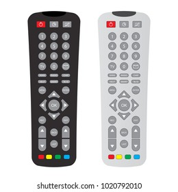 black and gray remote control with buttons isolated over white background,flat illustration
