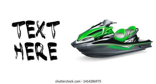 Black and Green Jet Ski Isolated on White Background. PWC Personal Water Craft Vehicle. Front Side View of Water Scooter. Recreational Watercraft. 3D Rendering