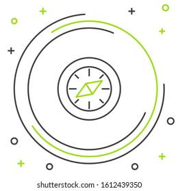 Black and green line Compass icon isolated on white background. Windrose navigation symbol. Wind rose sign. Colorful outline concept.