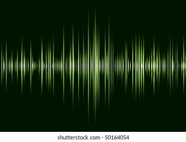 Black and green music inspire graphic equalizer wave and black background