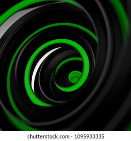 Black and green twisted spiral shape. Computer designed abstract 3D render with DOF