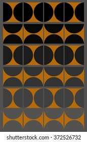 Black and Grey Gradient with Gold Squares and Half Circles is a illustration in a grid pattern. The grid consists of 6 rows of 4 squares with various shades of grey and gold colored designs.