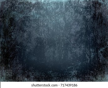 Black grunge wall texture. Rough scratched background. Old dirty template. Dark prison empty space. Thriller distressed illustration. Horror basement backdrop.