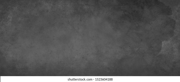Black grungy background with texture and distressed vintage grunge and watercolor paint stains in elegant backdrop illustration