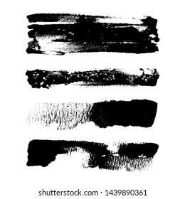 Black grungy Brush Strokes on white isolated background