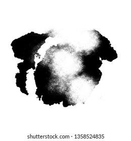 Black grungy ink brush splash spay effect isolated on white random shape design element dirty background