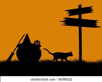 A  black halloween illustration silhouette on an orange background