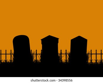 A  black halloween illustration silhouette on an orange background cemetery