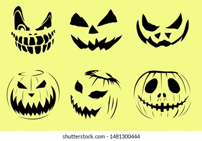 Black halloween pumpkin face on light background. Vintge sticker.
