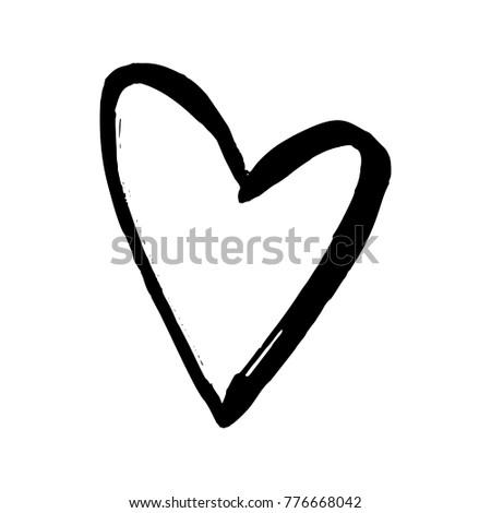Black Hand Drawn Heart On White Stock Illustration Royalty Free