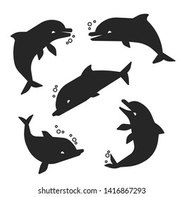 Black happy dolphins of set silhouettes isolated on white background. illustration