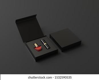 黒い背景に黒い固い口紅とマニキュアの箱、3Dイラスト。