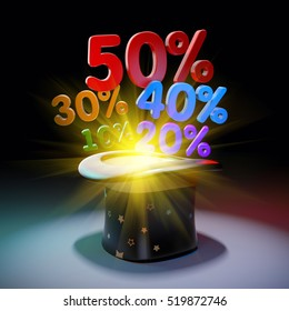 Black hat with huge discounts. 3d illustration