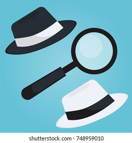 Black hat seo banner. Magnifier, and other search engine optimization tools and tactics.  flat illustration