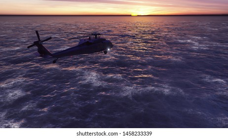 Black hawk military helicopters fly at sunrise across the boundless sea. 3D Rendering