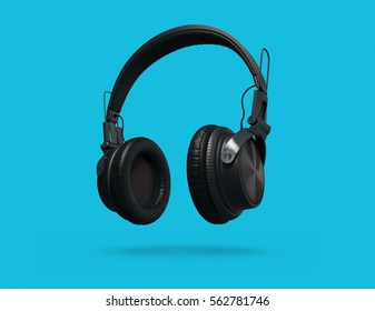 Black Headphones Isolated on a blue Background. 3d rendering