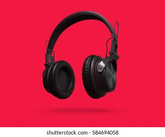 Black Headphones Isolated on a red Background. 3d rendering