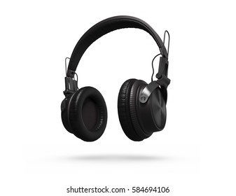 Black Headphones Isolated on a white Background. 3d rendering