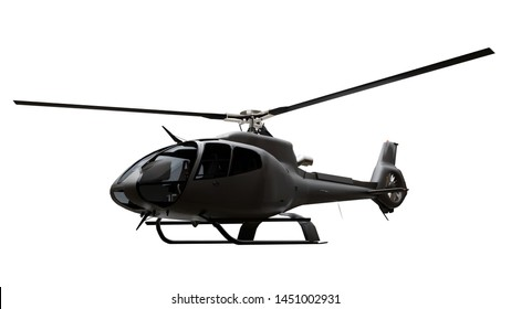 Black helicopter isolated on the white background. 3d rendering