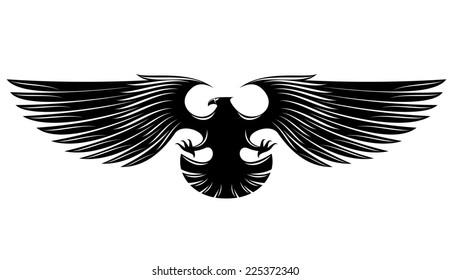 Black heraldic eagle isolated on background