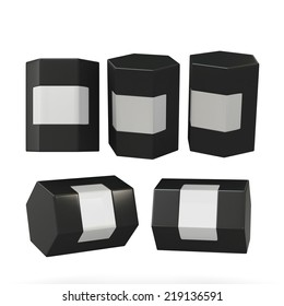 Black hexagon box packaging with clipping path. Mock up packaging for all kind of product, ready for your design .