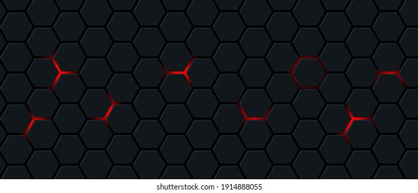 Black hexagon and red light.Abstract 3d background