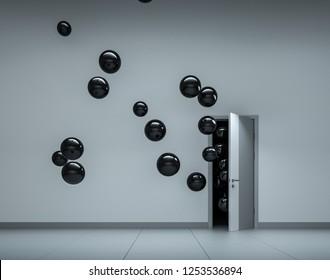 Black high glossy balloons fly away through open door in office interior. 3D render