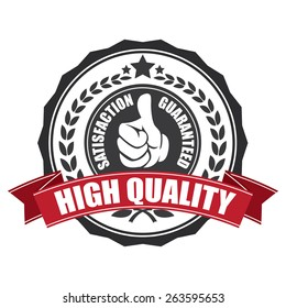 black high quality satisfaction guarantee ribbon, sticker, sign, stamp, icon, label isolated on white