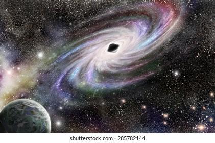 Black hole at the center of galaxies. No NASA images used