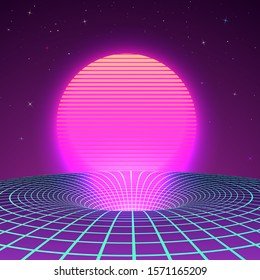Black Hole in neon colors by 80s or 90s. Background or cover for retrowave electronic music style. Sci-fi poster template. illustration