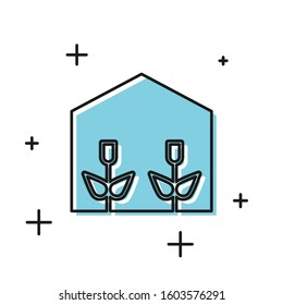 Black Home greenhouse and plants icon isolated on white background.