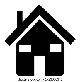 Black home icon with a special design. Black and white illustration