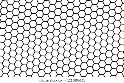 Black honeycomb on a white background. Isometric geometry. 3D illustration