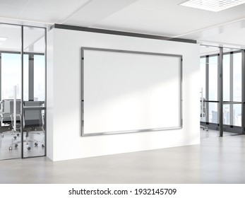 Black horizonal frame Mockup hanging on office wall. Mock up of a billboard in modern concrete company interior 3D rendering