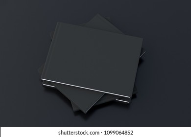 Black horizontal blank cover book stack mockup on black background with clipping path around books. 3d illustration