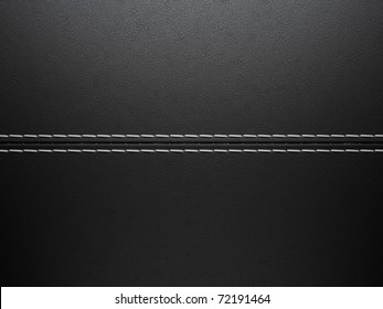 Black horizontal stitched leather background. Large resolution