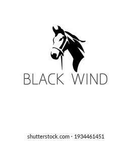 Black horse simple concept logo for company