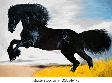 Black horse in the steppe. Oil painting