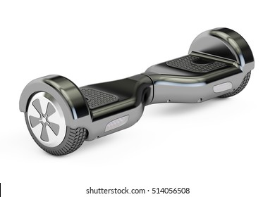 black hoverboard or self-balancing scooter, 3D rendering isolated on white background