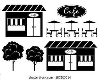 Black icon of cafe. Raster illustration.