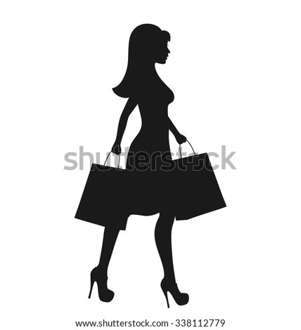 36005412ccdf Black Icon Shopping Woman Silhouette with Bags Isolated on White Background