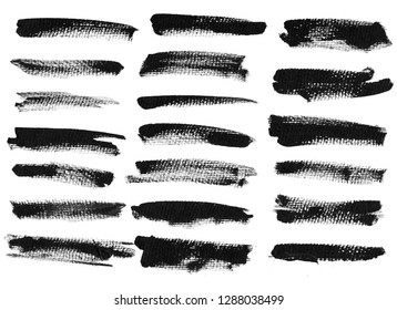 Black ink grunge brush set strokes on white background.