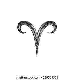 black ink hand drawn dotwork tattoo style vintage design Aries zodiac sign retro illustration isolated white background