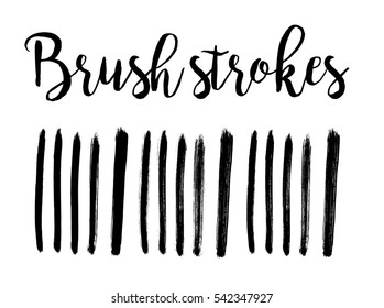 Black ink hand drawn paintbrush brush set,illustration. Strokes isolated elements. Can be used for Black Friday banner design
