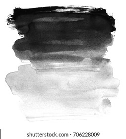 Black ink on white background. Watercolor brush. Elements for design. Abstraction.