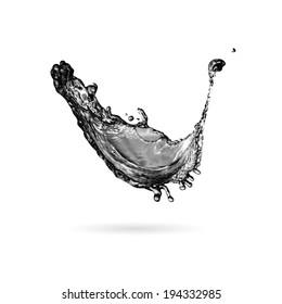 Black ink paint or oil splash isolated on white,  background illustration