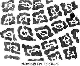 Black ink painted jaguar pattern. Wildlife print. Animal fur design. Snow leopard spots. Hand drawn camouflage isolated on white background.