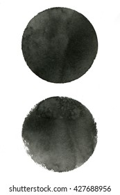 Black ink round stains. Chinese ink on watercolor paper. Other black stains you'll find in my portfolio.