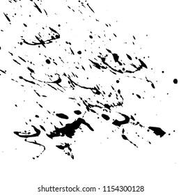 Black ink splash and blots on white background. Grunge illustration.